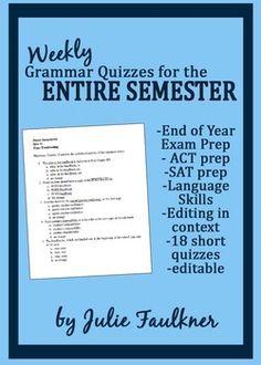 Weekly Grammar Test Prep EOC; ACT Quiz Bundle for an Entire semester