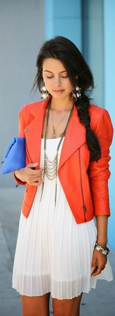 Reuse those summer dresses with nice bright blazers this fall.  Outfit idea - Pinned by Pink Pad, the women's health app with the built-in community!