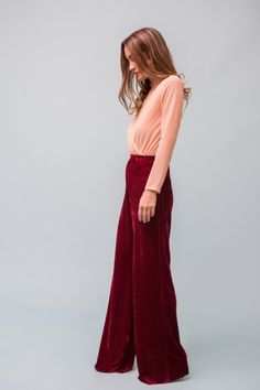 Pantalón INFINITO Rojo Granada - Pantalones y Faldas - SHOP