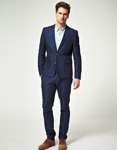 Skinny Fit Suit Jacket in Blue | Skinny fit suits, Fitted suits ...