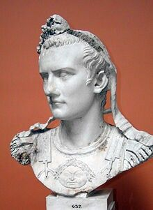 """Caligula, properlyGaius Julius Caesar Augustus Germanicus (12 AD – 41 AD), a Roman Emperor37 AD –41 AD.  BornGaius Julius Caesar Germanicus, Caligula was a member of the house of rulers conventionally known as the Julio-Claudian dynasty.  Caligula's biological father was Germanicus, and he was the adoptedson of EmperorTiberius.  The young Gaius earned the nickname """"Caligula"""" (meaning """"little soldier's boot"""") from his father's soldiers while accompanying him during his campaigns…"""