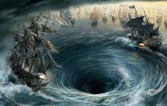 Pirates of the Caribbean Photo: The Flying Dutchman vrs The Black Pearl Images Pirates, Black Pearl Ship, Concept Art Gallery, Flying Dutchman, Bermuda Triangle, Ghost Ship, Pirate Life, Sea Monsters, Natural Phenomena