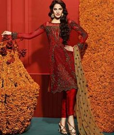 Buy Red Semi Georgette Pakistani Style Suit 76187 online at lowest price from huge collection of salwar kameez at Indianclothstore.com.