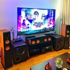 Unleashing the twins with one of the more hard-hitting bass demo movies of the last year. Small Home Theaters, Living Room Setup, Tv Stand Designs, Home Theater Setup, Modern Office Design, Ready Player One, Dolby Atmos, Audio Equipment, Audio System