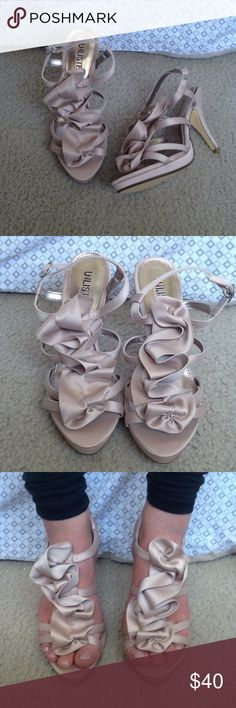 Dress shoes/pumps Never worn elegant opened tied pumps. The color is all natural. Made by Unlisted a Kenneth Cole Production. Will look great for work, weddings, proms etc.. Unlisted Shoes Heels