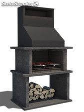 Barbecue with iron hood and stainless steel grill Although early with principle, the pergola is