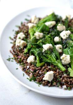 Purple Sprouting Broccoli & Puy Lentil Salad w/Almond Feta & Mint
