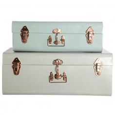 Perfect stylish solution for storing anything from clothes to documents, keep everything tidy with these stunning metal storage trunks. www.idyllhome.co.uk