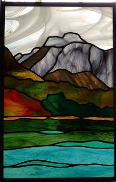Take a look at some of the beautiful landscape-themed stained glass designed by Rhonda's Stained Glass. Call to order custom glass for your home. Glass Wall Art, Stained Glass Mosaic, Glass Painting, Art, Stained Glass Designs