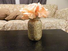 Future living room!!!!   Glittered Mason Jar! Use as vase, makeup brush holder, pen holder! Etsy