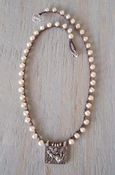 Crochet pearl necklace Pixie Chic unique cream pearl by slashKnots, $78.00