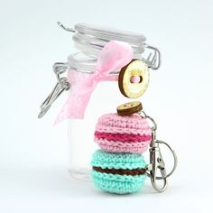 Sweet macarons keychain, crocheted