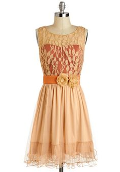 Home Sweet Scone Dress by Ryu - Cream, Orange, Solid, Flower, Party, A-line, Tank top (2 thick straps), Sheer, Mid-length, Lace, Prom, Wedding