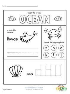 Several ocean animals themed language arts activities Ocean Activities, Printable Activities For Kids, Animal Activities, Educational Activities, Animal Worksheets, Science Worksheets, Worksheets For Kids, Writing Exercises, Letter T