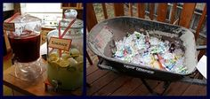 Love the wheelbarrow idea for chilling drinks!