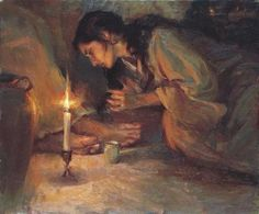 wiping Christ's feet with her hair -