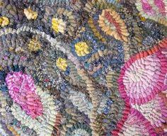 Dappled color antique black background in rug hooking by Karen Kahle
