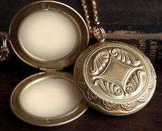 Lip Balm Locket Necklace  - Victorian Gold Brass - Choose Your Flavor - Mint Strawberry Vanilla Buttercream