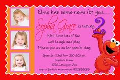 Elmo invites. 2nd birthday idea.