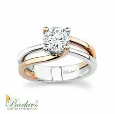 White & Rose Gold Solitaire Engagement Ring - - Modern in design this split shank two-tone solitaire engagement ring evolves around the center stone. The prongs, for the round diamond center, rise out of the shank, two are rose gold and two are wh Wedding Rings Solitaire, Rose Gold Engagement Ring, Solitaire Engagement, Bling Bling, Diamond Rings, Diamond Jewelry, Solitaire Diamond, Cushion Solitaire, Cushion Ring