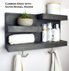Bathroom Storage Shelf with Modern Towel Hooks Modern Farmhouse Bathroom Shelf Organizing Cabinet Bathroom Rack, Bathroom Storage Shelves, Bathroom Organisation, Diy Bathroom Decor, Bathroom Towels, Bathroom Vanities, Master Bathroom, Towel Storage, Storage Room