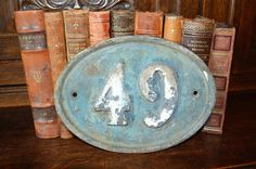 Antique Large French Cast Iron House Number 49 Sign Plaque Blue & White Shabby Chic by VintageFleaFinds on Etsy