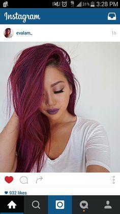 Magenta red pink hair - i like - Magenta Hair Colors, Red Violet Hair, Dyed Red Hair, Pastel Pink Hair, Burgundy Hair, Bright Hair, Reddish Purple Hair, Brown Hair, Dark Pink Hair