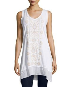 TCKCE JWLA by Johnny Was Keira Embroidered Sleeveless Tunic, White