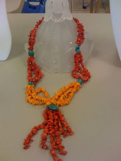 Turquoise & Coral Chip stone Lariat style by BrightStarrCreations, $55.00
