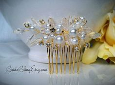 pearl hair comb gold hair comb bridal accessory by BrideBling, $40.00