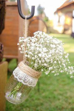 decoration bocal en verre, diy avec dentelle, ficelle, vase à fleurs