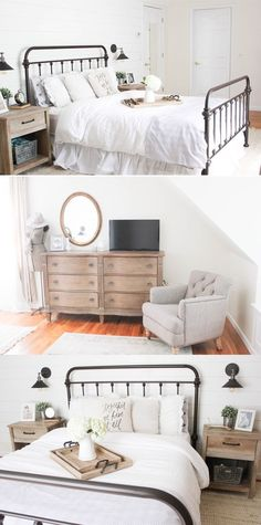 Colin Chair, Fremont Queen Bed, Whitmore Nightstand, Whitmore bedroom Dresser, Sheppard Swing Arm Wall Light, Ashwood Trays. For this farmhouse master bedroom look, visit http://raymourflanigan.com. Photo: Lauren Mcbride blog