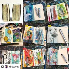 Wow that is one full art journal!! Have you taken the time to reflect on your art journals from this year? (This art journal is by @drawriot)  #GelliArts #GelliPlate #Printmaking #ArtJournal