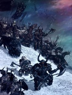 Warriors of Chaos and Norscan Warriors march under the banner of a Chaos Champion and march South