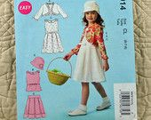 Girls Jacket, Dress, Top and Skirt, McCalls M6914 Pattern, Shoulder Button, Pleats, Back Zipper, 2014 Uncut, Size 2 3 4 5 or 6 7 8, 3-oz