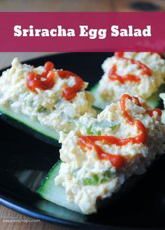 Sriracha Egg Salad a fun recipe to spice up your hard boiled eggs