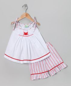 Take a look at this White Crab Smocked Top & Red Shorts - Infant, Toddler & Girls by Candyland on #zulily today!
