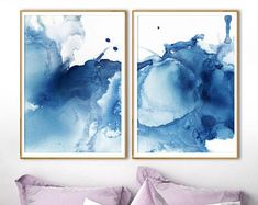 Navy Blue Decor, Blue Poster, Blue Painting, Art Abstrait, Abstract Wall Art, Watercolor Print, Cool Art, Modern Posters, Grunge