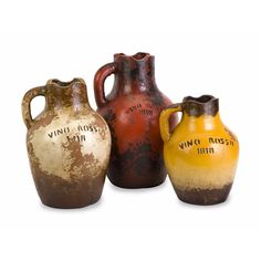 "Imax Vino Rosa Terracotta Vases with Handle - Set of 3 (Vases), Multi, Size Small Under 8"" - Small (Under 8"") (Clay)"