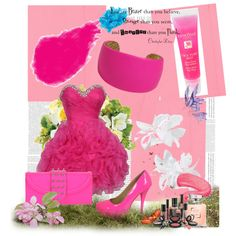 pink glitter, created by candinoftz on Polyvore