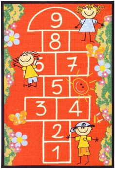 Ottomanson Hopscotch Kids Rug Red Children's Playground Design Non-Skid (No-Slip) Area Rug 39 Inch by 59 Inch Rubber Backed Area Rugs, Hopscotch Kids, Red Home Decor, Playground Design, Playground Ideas, Area Rug Runners, Red Rugs, Online Home Decor Stores, Woven Rug