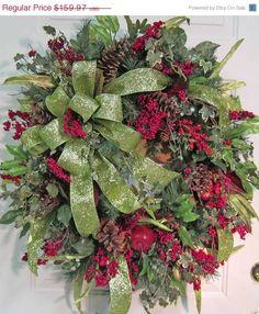 Christmas Wreath On Door | Christmas Door Wreath Outdoor Holiday Wreath Bright Lime ... | Christ ...