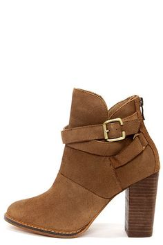 Chinese Laundry Zip It Dark Camel Suede Leather Booties