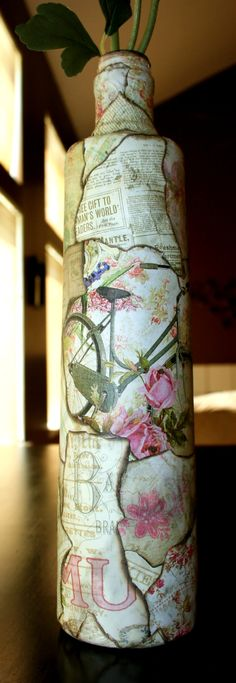 Vintage looking shabby chic bottle  Upcycled by ShabbyChicFusion via Etsy