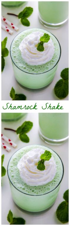 A super easy homemade version of the famous Shamrock Shake! Sweet, creamy, minty goodness in every sip.