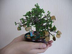 Денежное дерево с улиткой. Монеты настоящие(Россия).