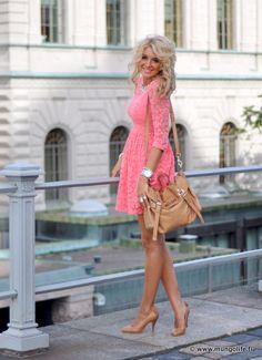 Lace pink dress. Ultra girly, cute.