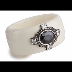 SALE ❗️Miriam Salat Deco Jewel Cuff  A glossy resin cuff is beautifully accented with a black faceted cubic zirconia (NOT crystals, CZ) set in the center of sterling silver medallion with clear cubic zirconia. Miriam Salat Jewelry Bracelets