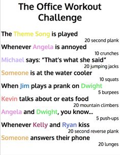 The Office Workout Challenge! Use this challenge whenever you watch The Office. It's super fun! Tv Show Workouts, Fun Workouts, At Home Workouts, Netflix Workout, Summer Workouts, The Office Show, Office Tv, Office Quotes, Office Humor