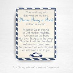 Planes Trains Automobiles Baby Shower Party Printable Bring a Book Card YOU PRINT Vintage Navy Blue Grey Instant Download  This is an example of what we can do, if you want to tweak this file please message us in Etsy Convos.  Each card is approximately 5x4 in size (depending on how you trim them). Prints 4/page.  Your cards will be ready to download upon completion of purchase.  We can create an entire party to coordinate with this thank you note, convo us for details
